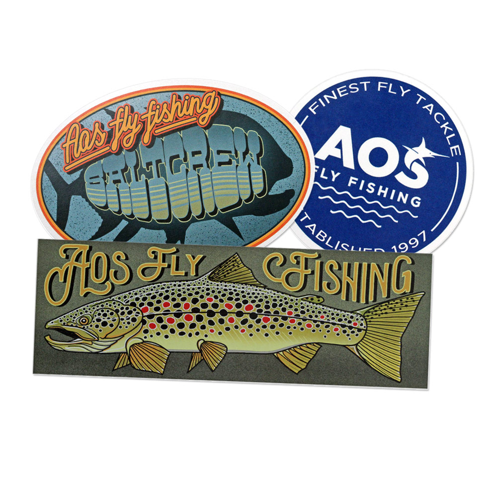AOS Fly Fishing Sticker, 3 Stk.