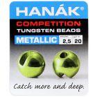 Hanak Round Tungsten Beads Perlen, metallic olive