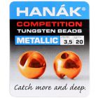 Hanak Round Tungsten Beads Perlen, metallic orange