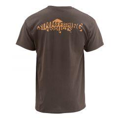 Simms Woodblock Trout T-Shirt, bark