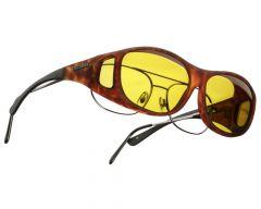 yellow lenses / tortoise frame