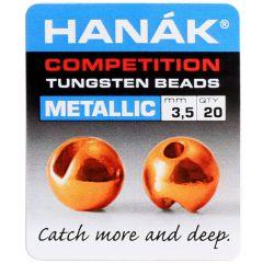 Hanak Round Tungsten Beads, metallic orange