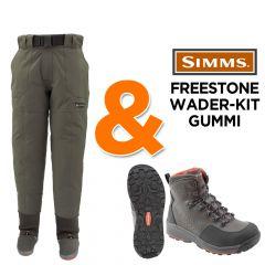 Simms Freestone Watset Wathose hüfthoh + Watschuh (Filz oder Gummi), Fliegenfischen