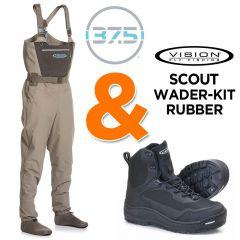 Vision Scout 2.0 Strip Wathose + Vision Musta Michelin Watschuh Watset zum Fliegenfischen