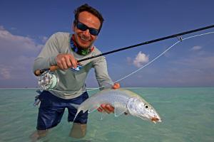 Fliegenfischen auf Bonefish in der Abaco Lodge, Bahamas