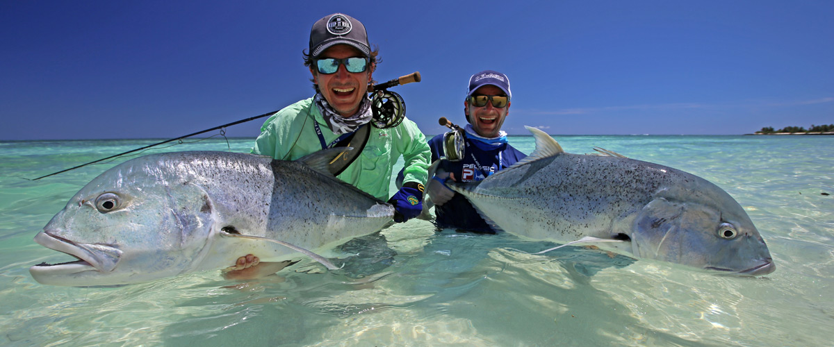 Fly Fishing for Giant Trevally GT with Stefan and Alexander Haider at Alphonse Island, Astove, Cosmoledo, Farqhuar, St. Brandon and Providance